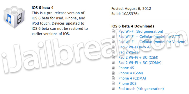 Download iOS 6 Beta 4 Build 10A5376e Firmware