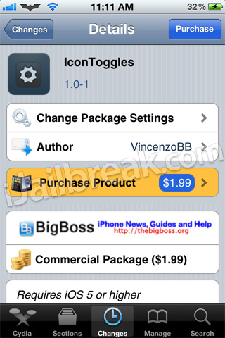 IconToggles Cydia Tweak