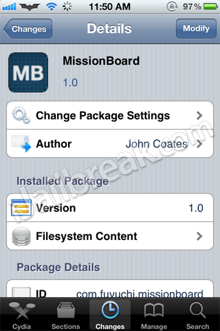 MissionBoard Cydia Tweak