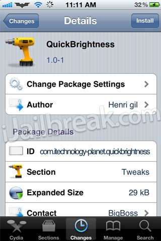 QuickBrightness Cydia Tweak