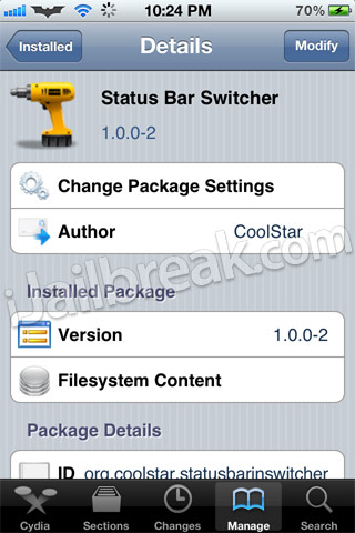 Status Bar Switcher Cydia Tweak