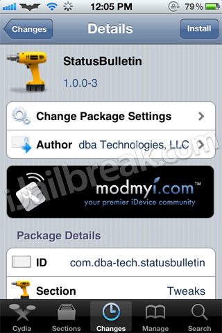 StatusBulletin Cydia Tweak