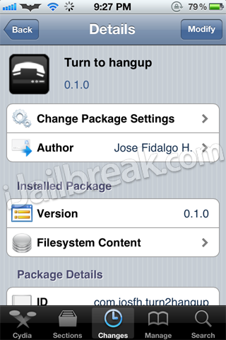 Turn To Hangup Cydia Tweak