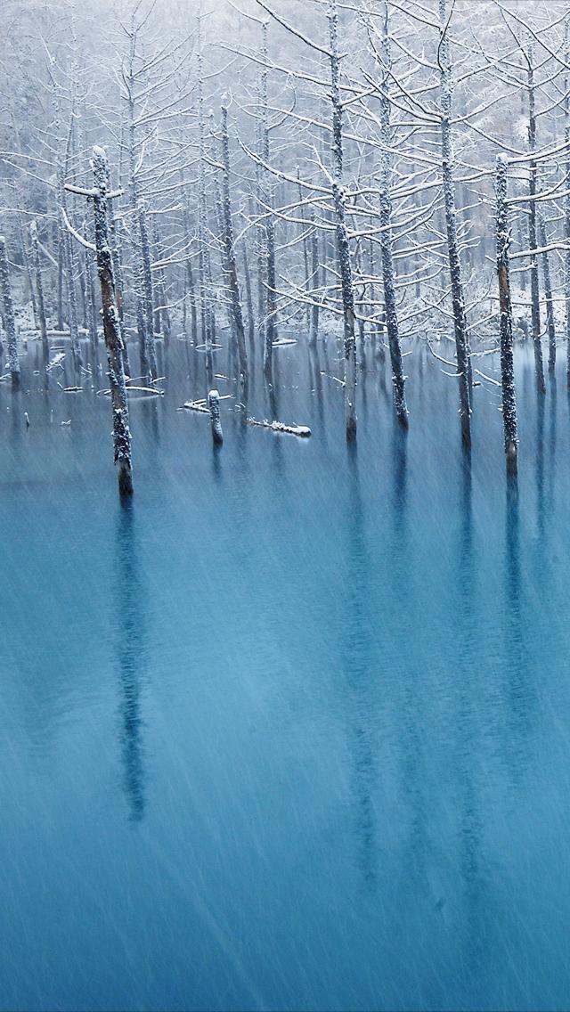 Frozen Lake iPhone 5 Wallpaper