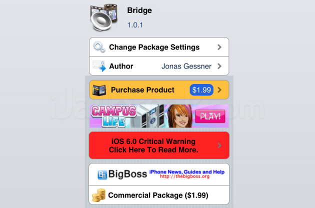 Bridge Cydia Tweak