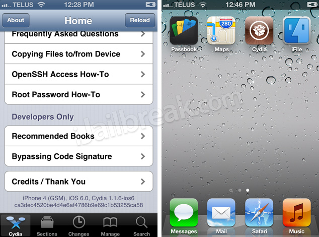 Jailbreak iOS 6 Public And Install Cydia