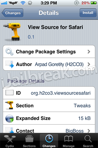 View Source for Safari Cydia Tweak