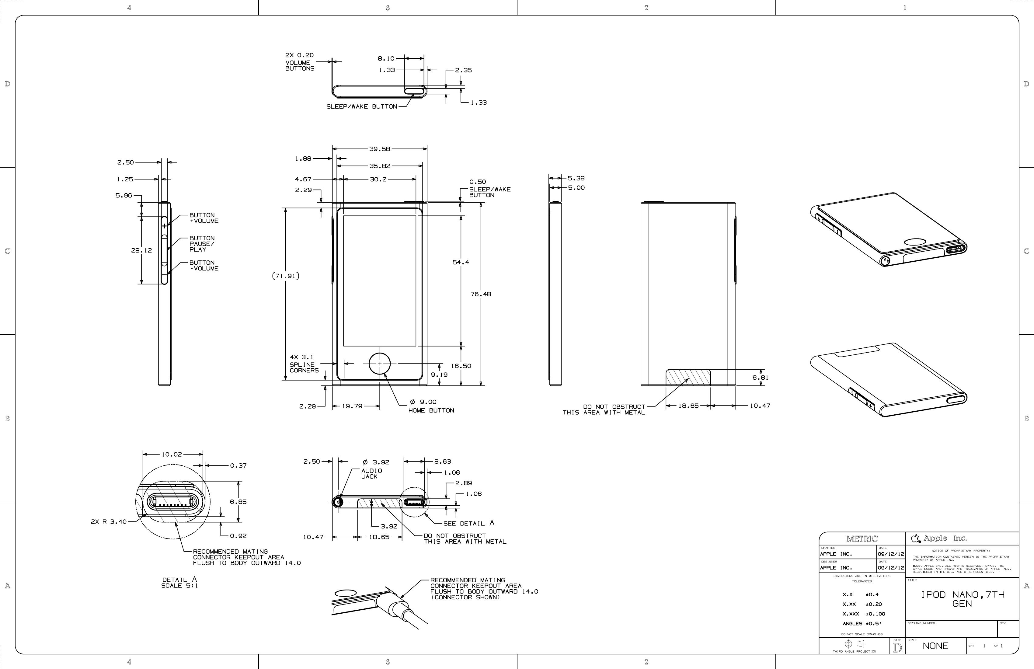 Apple Release Blueprints (PDF) For iPod Touch 5G, iPod Nano 7G