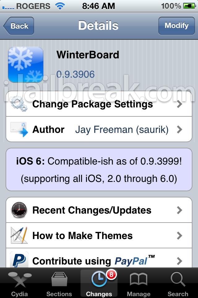 winterboard 0 9 3999 cydia tweak provides ios 6 compatibility