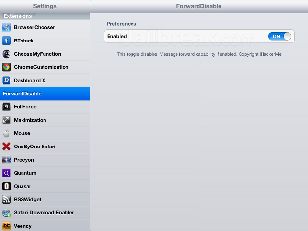 ForwardDisable Cydia Tweak