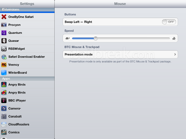 BTC Mouse Trackpad Cydia Tweak: Extend iOS Bluetooth Functionality