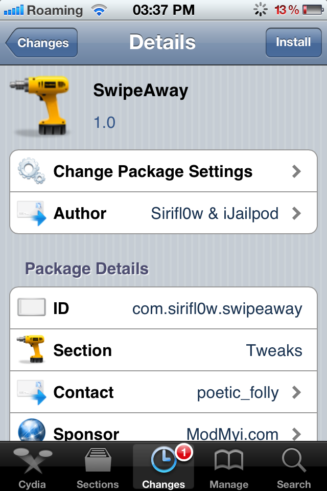 SwipeAway Cydia Tweak