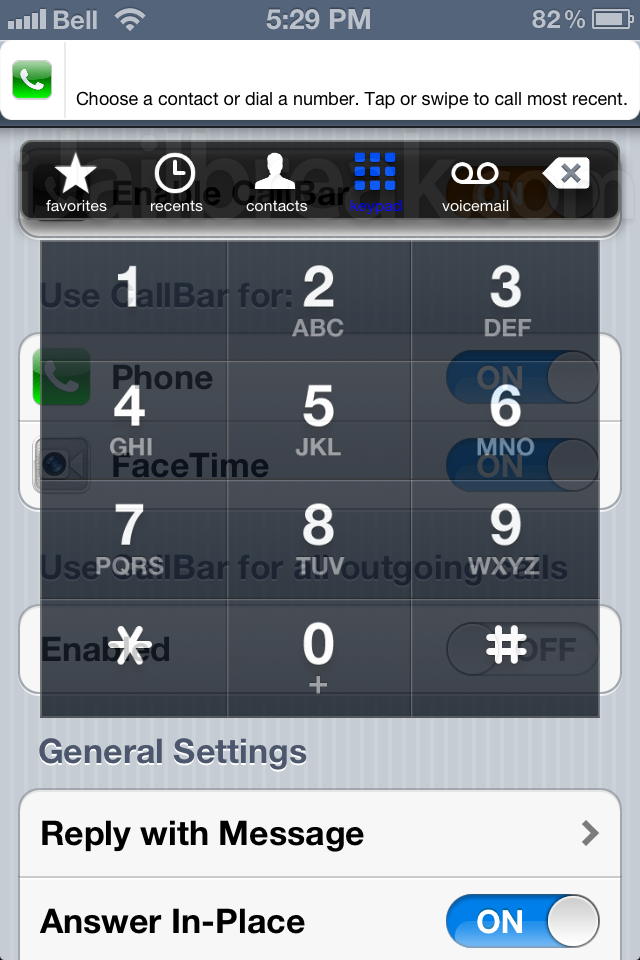 CallBar 2.0 Cydia Tweak