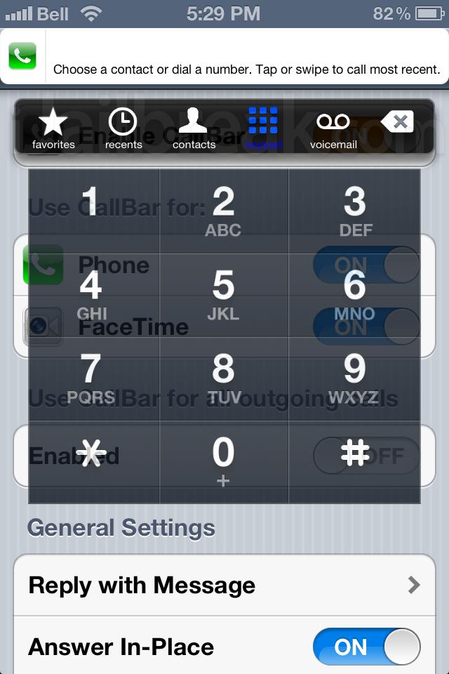CallBar 2.0 Cydia Tweak