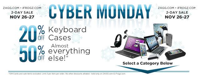ZAGG Cyber Monday Sale 2012: 50% Off Everything Sitewide