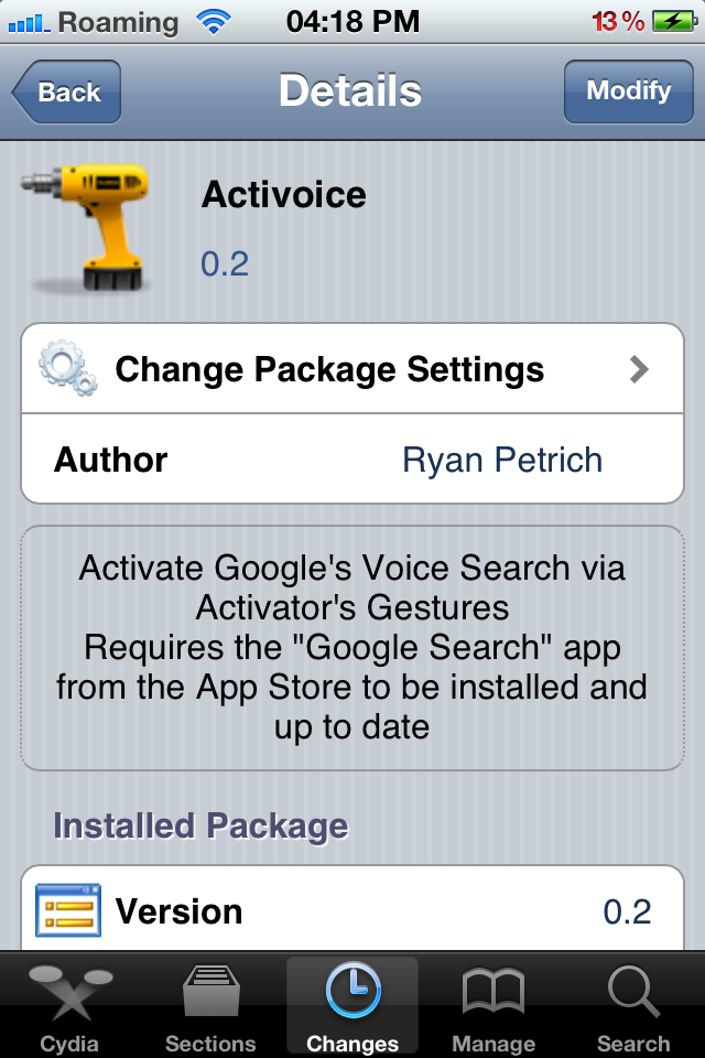 Activoice Cydia Tweak
