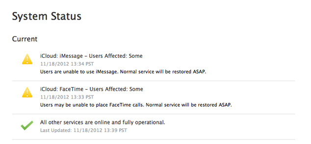 iCloud Outage November 18th 2012