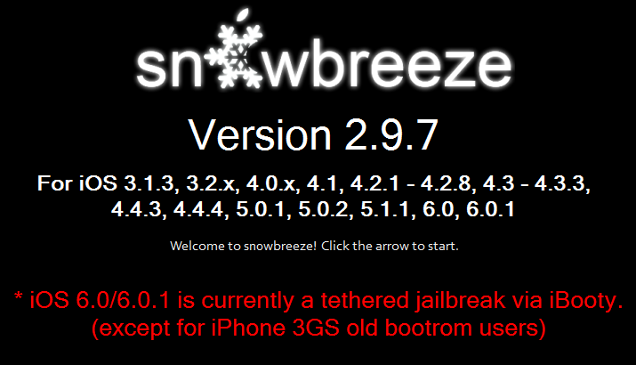 Download Sn0wBreeze 2.9.7 To Jailbreak iOS 6.0.1 / iOS 6 On iPhone And iPod Touch [WINDOWS]