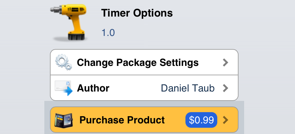 Cydia Timer Options