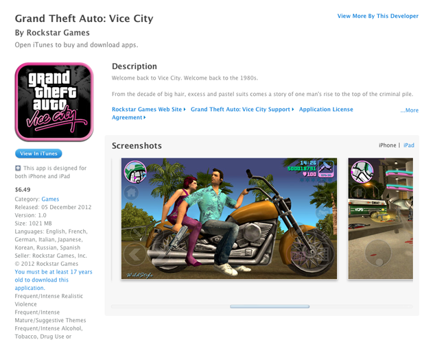 Download Grand Theft Auto: Vice City For iPhone, iPad, iPad
