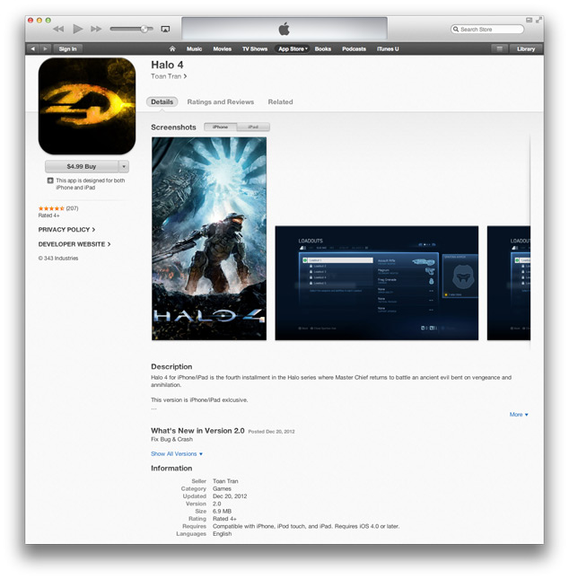 Halo 4 Finds Its Way Into The Apple App Store, Is A Fake
