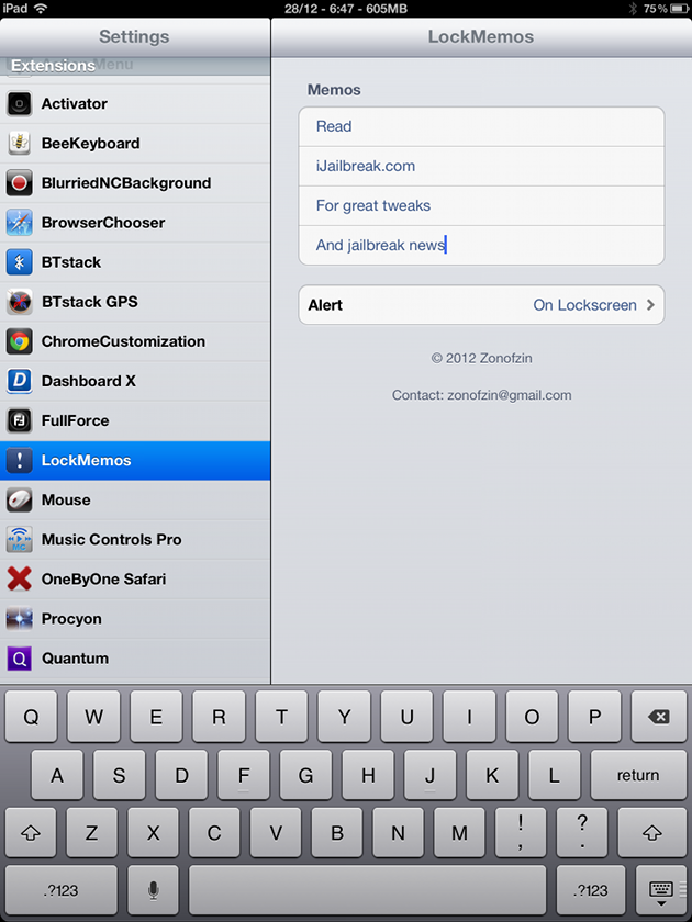 LockMemos Cydia Tweak