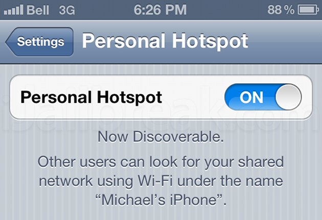 Personal Hotspot