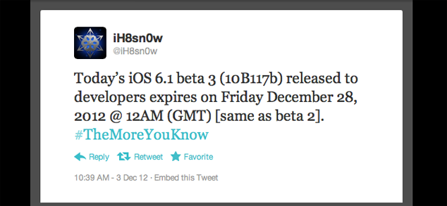 iOS 6.1 Beta 3 Expiry Timer Hints At A December Public Release Of iOS 6.1