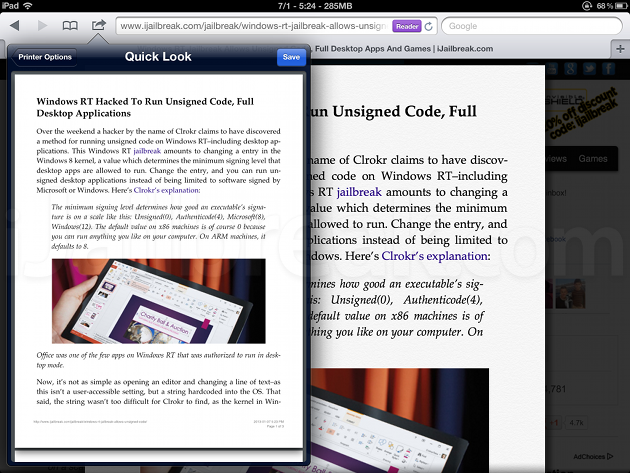 PDF Printer For Safari Cydia Tweak