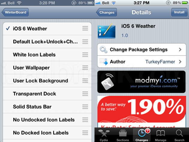 iOS 6 Weather Cydia Theme