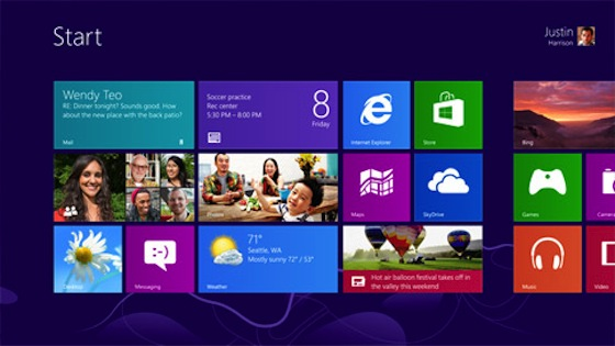 The Windows 8 metro interface home screen