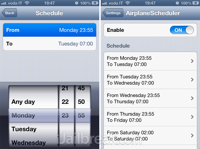 AirplaneScheduler Cydia Tweak