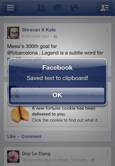 Enable Copy Text In Facebook Cydia Tweak