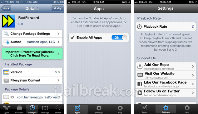 FastForward Cydia Tweak