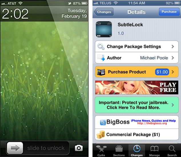 SubtleLock Cydia Tweak