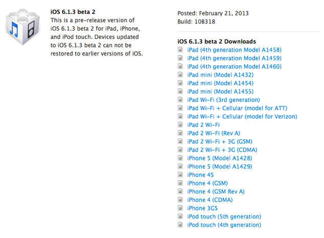 Apple Seeds iOS 6.1.3 Beta 2
