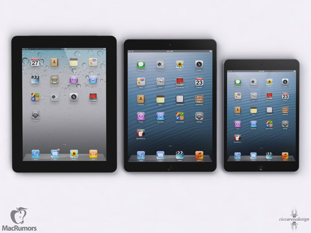The 5th generation iPad with smaller bezels (shown in center)