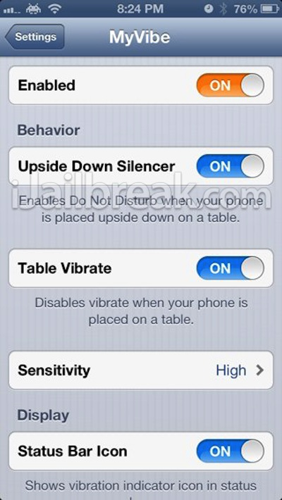 MyVibe Cydia Tweak Disables Vibrate When Phone Is Laid Flat And Toggles Do Not Disturb When Placed Upside Down