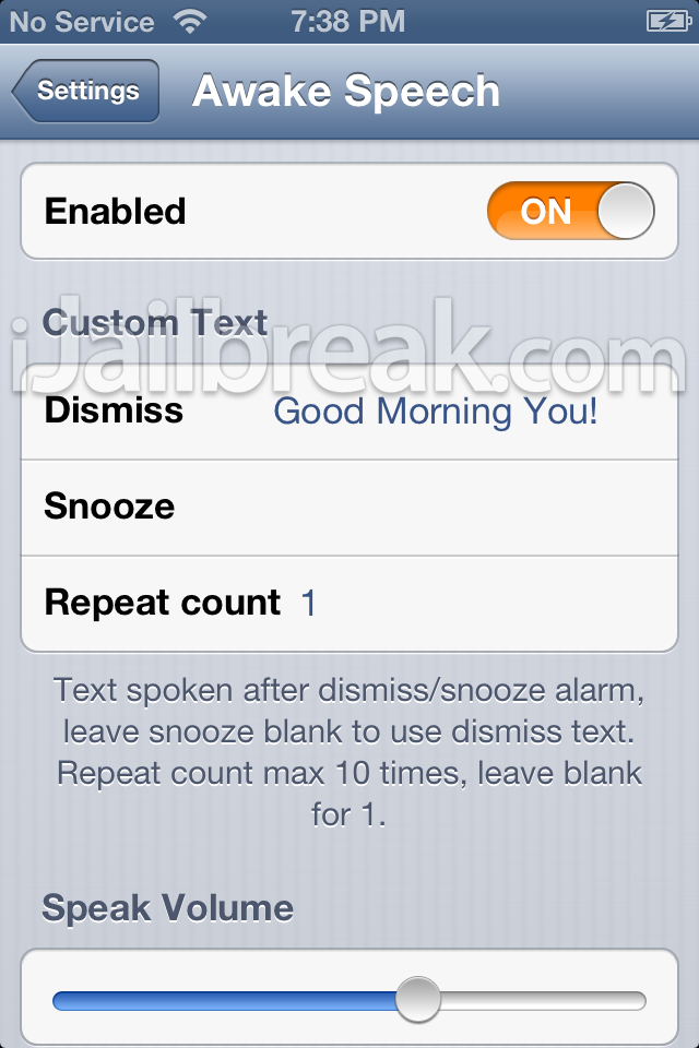Awake Speech Jailbreak Tweak iJailbreak