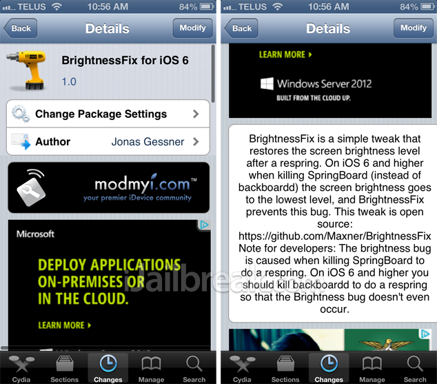 BrightnessFix For iOS 6 Cydia Tweak