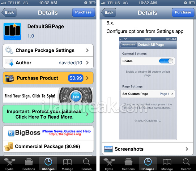 DefaultSBPage Cydia Tweak