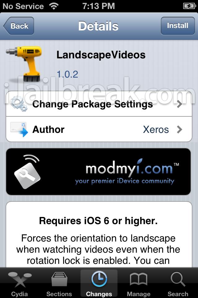 LandscapeVideos Cydia Tweak iJailbreak
