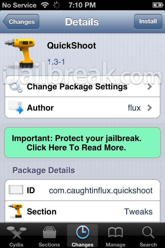 QuickShoot Cydia Tweak iJailbreak