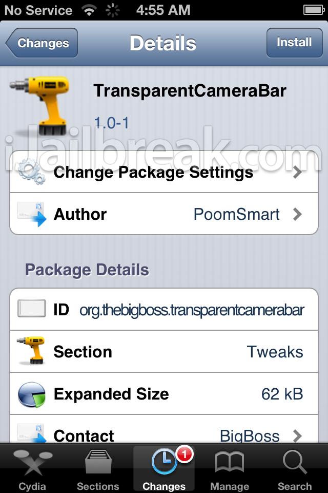 TransparentCameraBar cydia tweak ijailbreak