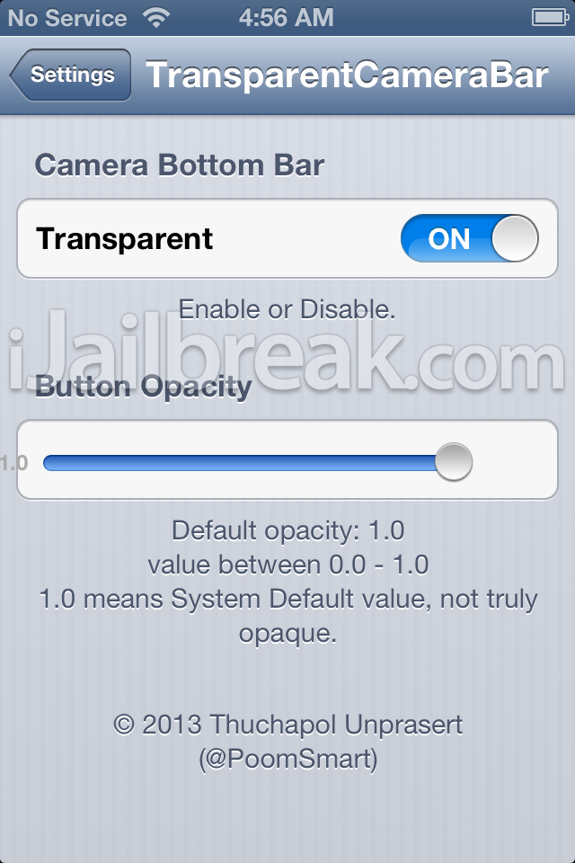 TransparentCameraBar cydia tweak settings ijailbreak