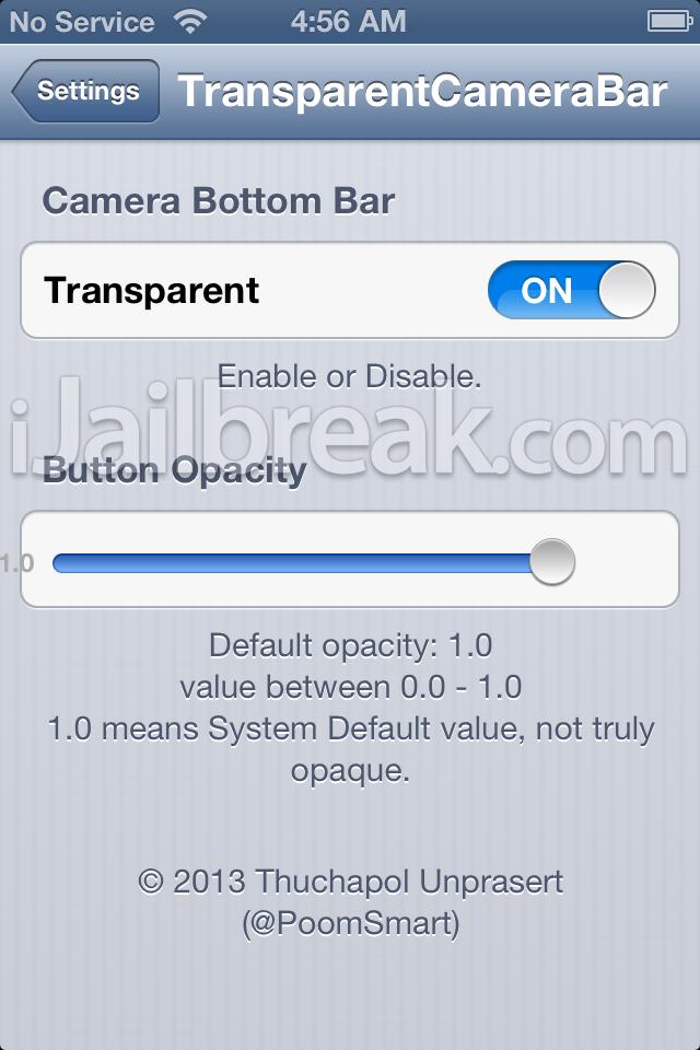 TransparentCameraBar cydia tweak settings ijailbreak