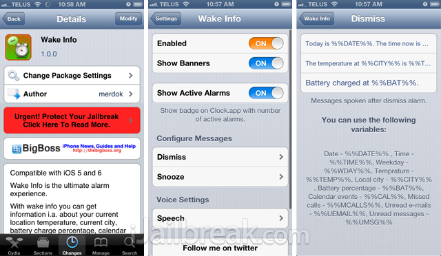 Wake Info Cydia Tweak