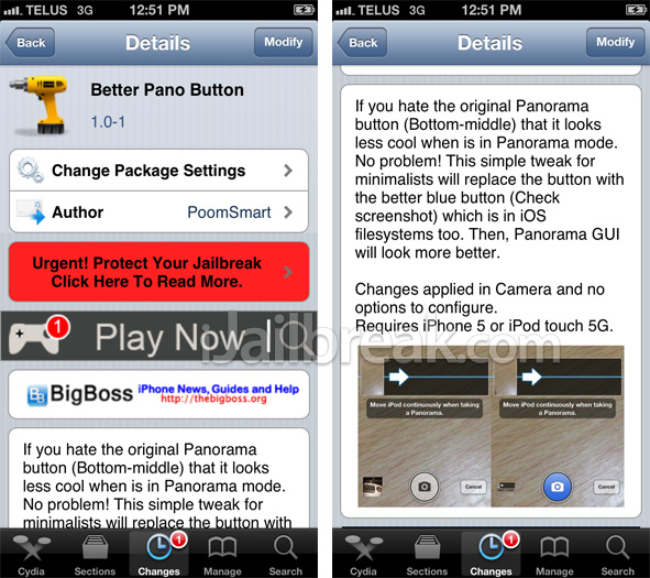 Better Pano Button Cydia Tweak