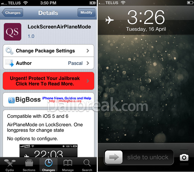 LockScreenAirPlaneMode Cydia Tweak