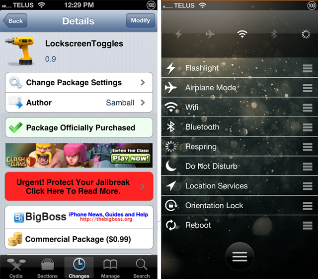 LockscreenToggles Cydia Tweak